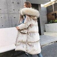 Women's Velvet thick 90% white eiderdown Jacket New Russian fashion bat sleeve fur warm shed Parkes long blouse jacket