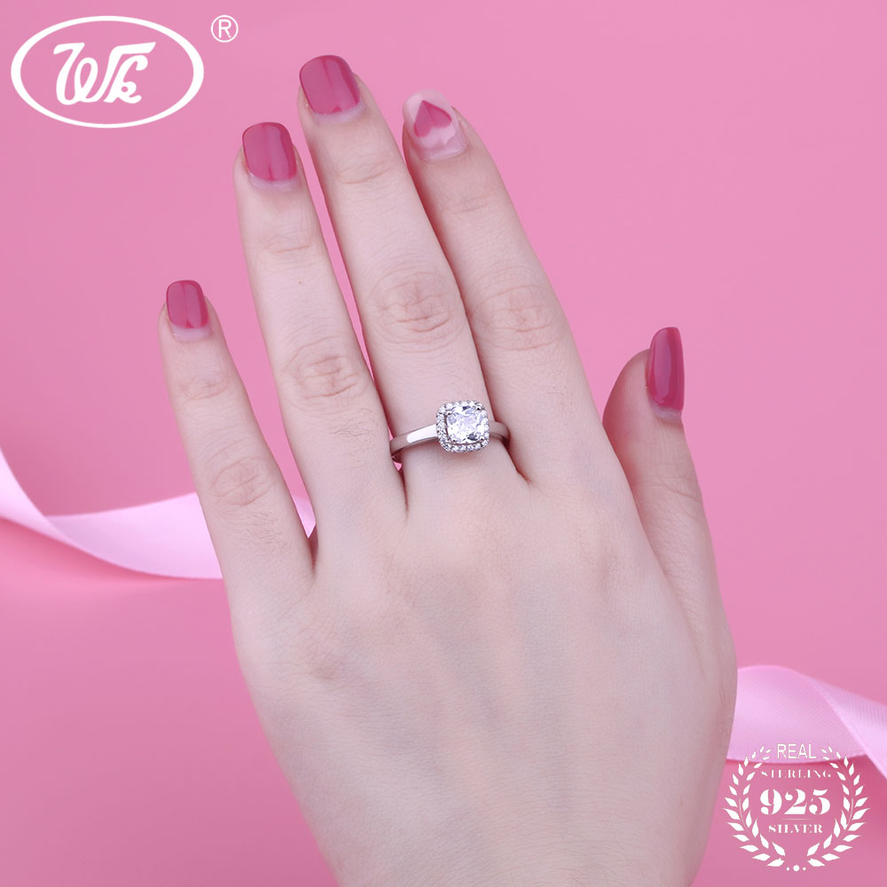 WK Real 925 Sterling Silver Wedding Engagement Ring Women Female Big ...