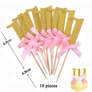 Image 3 - 12pcs First Happy Birthday Glitter Paper 1 Cupcake Toppers My 1st Party Decorations Kids One Year Baby Boy Girl Unicorn Supplies