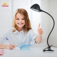 New Flexible Desk Table Light LED Study Reading Lights Clip On Bed Lamp Black Gift For
