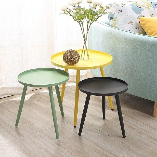 Nordic modern minimalist corner living room side table office balcony round tea table iron small coffee table