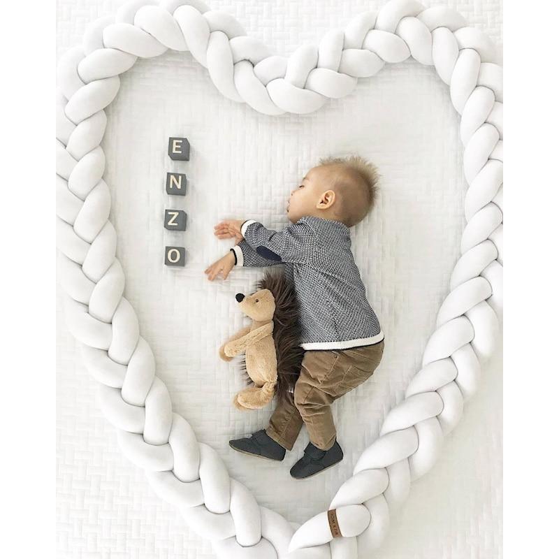 200 CM bébé berceau oreiller lit sûr pare-chocs noeud boule Long rayé oreiller calme sommeil poupée chambre décoration coussin jouets nouveau-nés cadeau