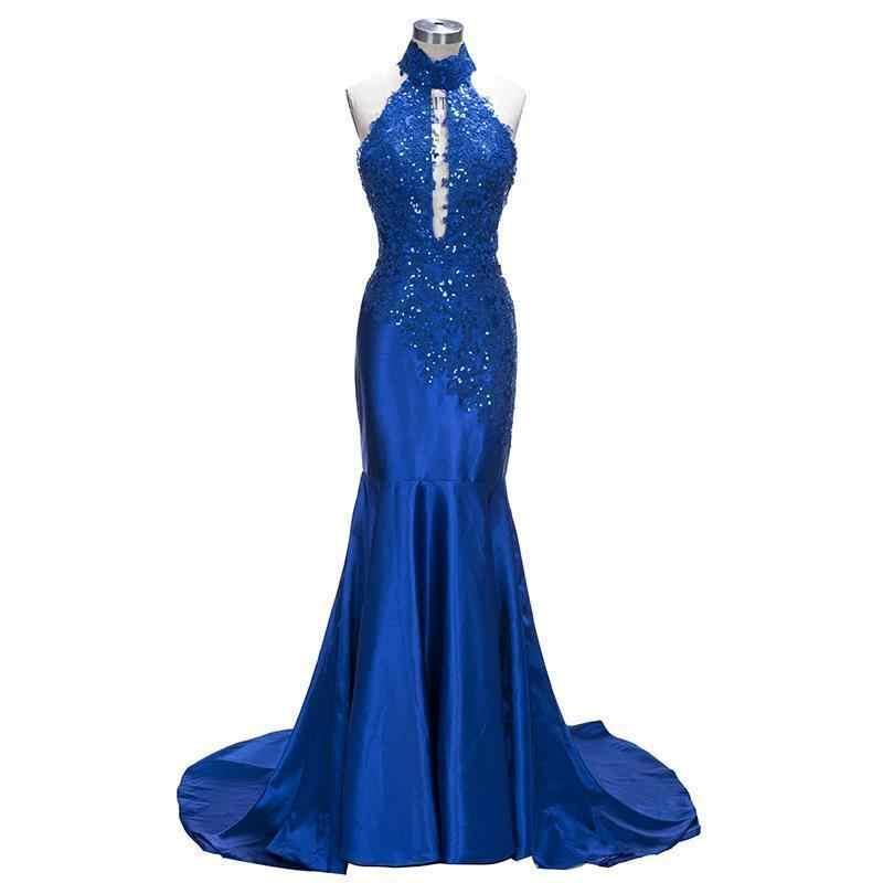 אישית אדום רויאל בלו בת ים ארוך שמלות נשף 2019 תחרה Applique ללא משענת ואגלי נשף שמלת vestidos דה festa