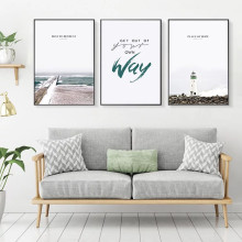 Poster Fresh Nordic Seaside Lampstand Wall Decor Art PosterCanvas Art Paintings For Living Room Wall Wall Art Canvas Unframed