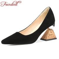 FACNDINLL new brand women genuine leather pumps shoes sexy high heels pointed toe black nude color shoes woman dress party shoes