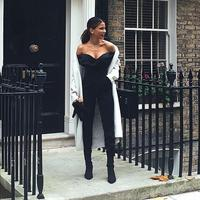 Fashion Women Black Jumpsuit 2018 New Style Sexy Off Shoulder Strapless Backless Elegant Evening Party Jumpsuits Romper Overalls