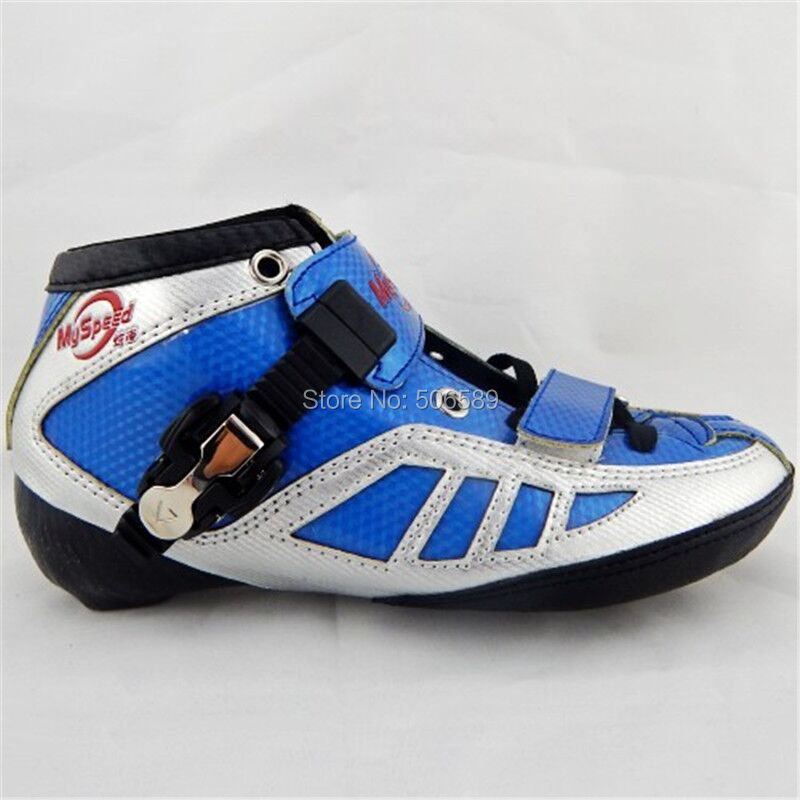 free shipping adult's speed skates my speed boots blue red glass fiber made цена и фото