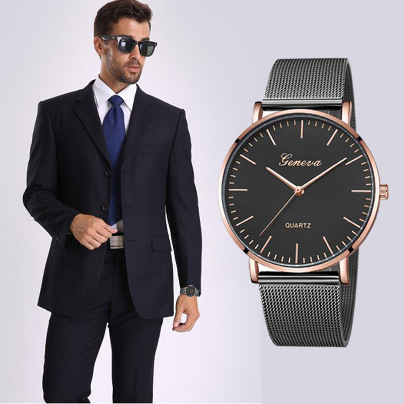 Modern Fashion Black Quartz Watch Men Women Mesh Stainless Steel Watchband High Quality Casual Wristwatch Gift For Female