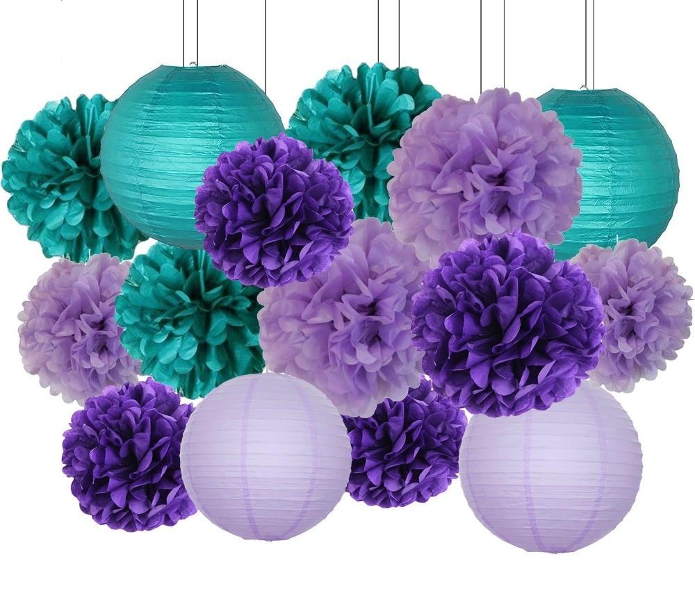 16pcs Mermaid Party Decoration Teal Lavender Purple Tissue Paper Pom ...