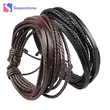 HOT Wrap Bracelets Bracelets for Men and Women Black Leather and Braided Rope New Men Jewelry # 0430 (China)