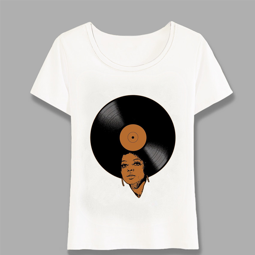Summer Fashion Women T Shirt Afro Vinyl Print Music