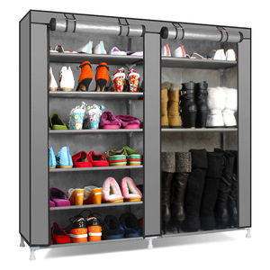 Image 5 - שורות זוגי גדול נעלי ארון אחסון שאינו ארוג בד נעלי ארגונית מדף DIY הרכבה אבק הוכחה נעלי מדפים נעל Rack