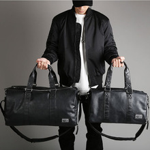 Male Leather Travel Bag Large Independent Shoes Storage