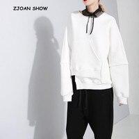 Harajuku Irregular Hem Sweatshirts Black Large Size Vintage O neck Long Sleeve Sweats New 2018 Women Loose Jumper Sweats