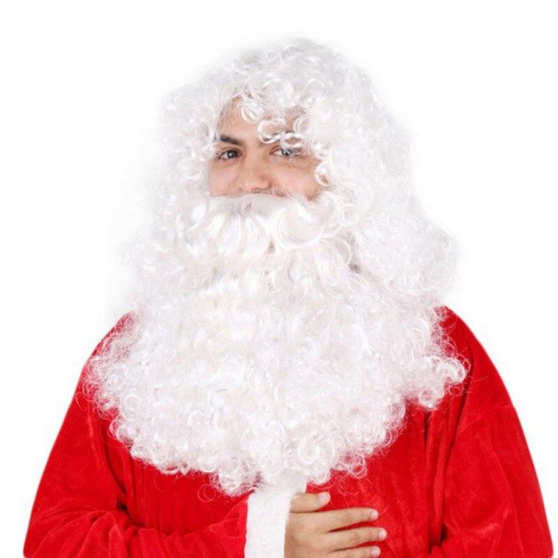 Santa Claus Father Christmas Elastic White Beard /& Moustache Fancy Dress Xmas