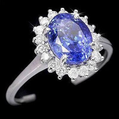Charm Blue Cubic Zirconia Sapphire KWGP Crystal Ring US size 6 7 8 9# Girl WOMEN Quartz 2pcs ringe Silver hook