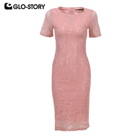 GLO STORY Women S 2018 Sexy Short Sleeve Summer Bandage Dress Women Knee Length Bodycon Lace