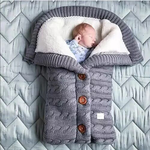 Image 3 - Warm Baby Sleeping Bag Footmuff Infant Button Knit Swaddle Cotton Knitting Envelope  Newborn Swadding Wrap Stroller Accessory