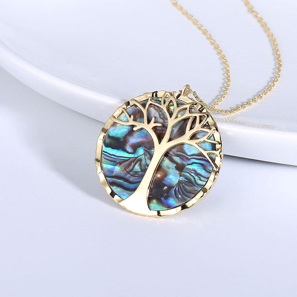 Collier avec pendentif rond, arbre de vie et nacre 2