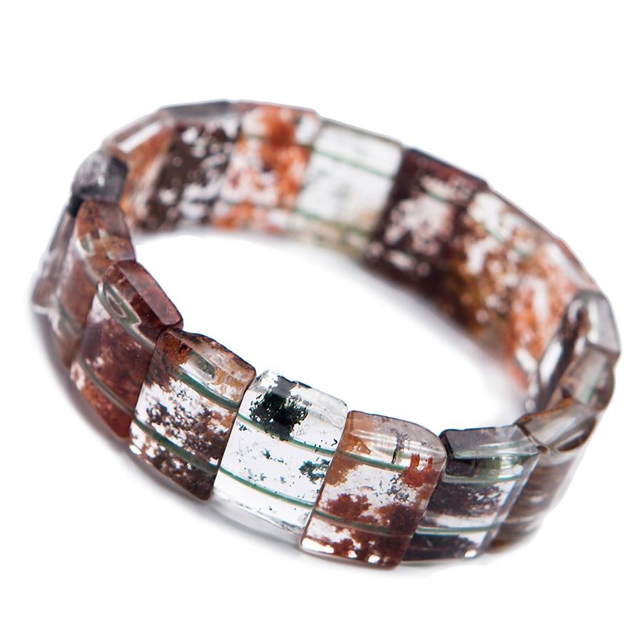 Genuine Colorful Natural Phantom Quartz Bracelets Women Female Stretch Rectangle Bead Crystal Bangle BraceletGenuine Colorful Natural Phantom Quartz Bracelets Women Female Stretch Rectangle Bead Crystal Bangle Bracelet