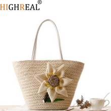HIGHREAL  New Rattan Handle Woven Bag Flowers Straw Bag Leisure Vacation Tote Beach Bag For Women Luxury Handbags Designer