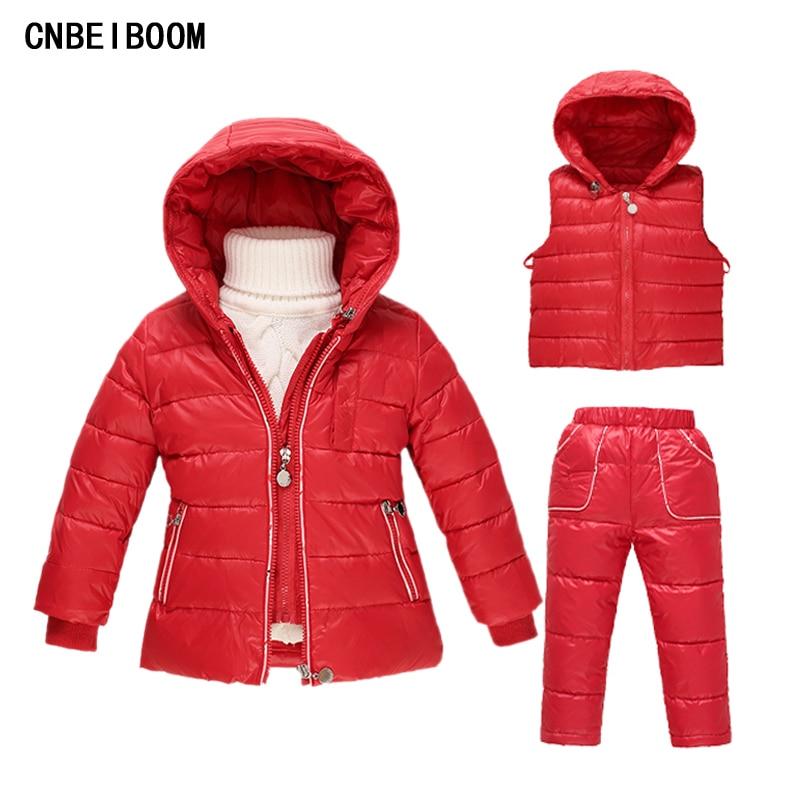 ФОТО 2016 New Russia Winter Clothing Suit Girls Snowsuit Children's 90 White Duck Down Jacket + Vest +Pants 3PCS Sets Kids Clothes