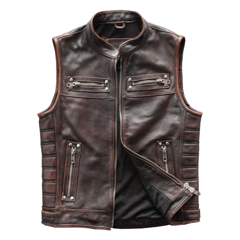 2020 Vintage marron hommes moto en cuir gilet grande taille 4XL véritable peau de vache printemps Slim Fit Biker naturel gilet livraison gratuite