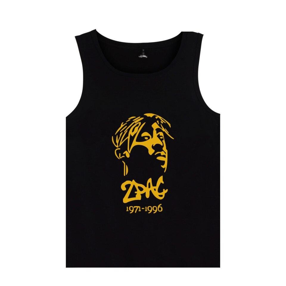Famous Hip Hop Rapper 2pac Tank Tops Tupac Amaru Shakur Silhouette Print Vest Summer Clothes Plus Size 4xl Clear-Cut Texture