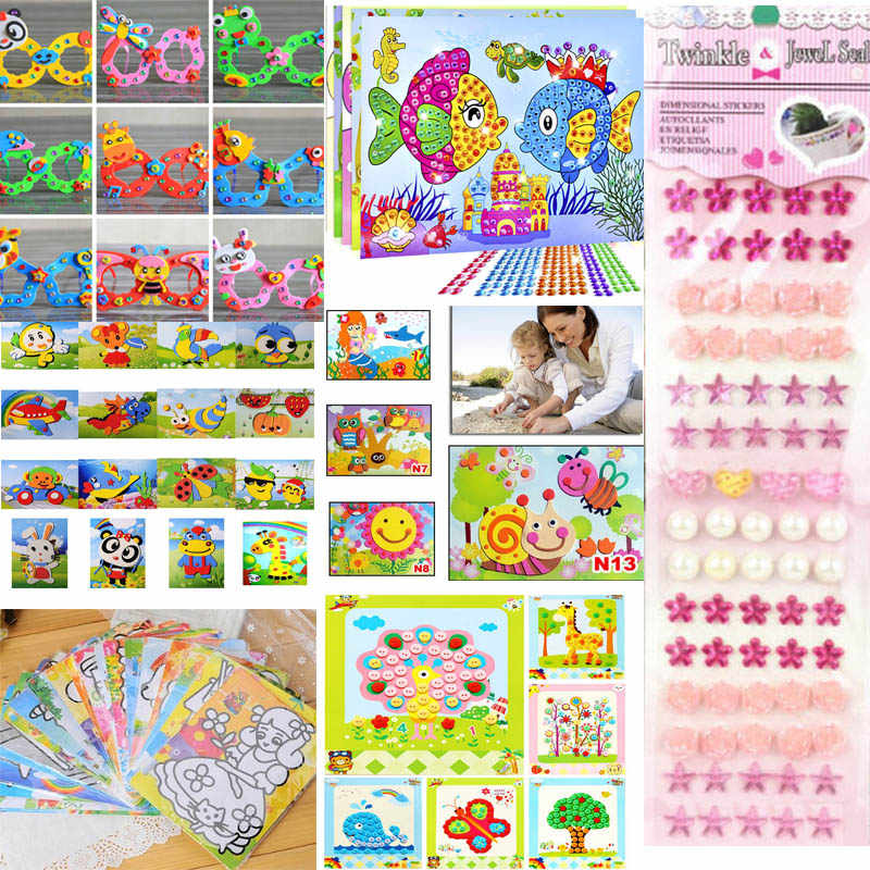 10styles 1pc DIY Toy Sets Painting Education Gift for Children Birthday Colorful Cartoon Diamond Coloring Drawing Sticker
