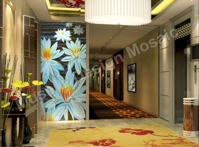 Murale fiore di loto arte giada ghiaccio barlume di vetro mattonelle