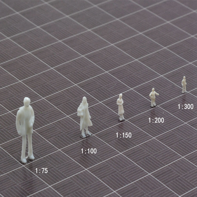 1/75/100/150/200/300 Miniature Scale Model White People Character Posture For Architectural Train Building Statue Diorama