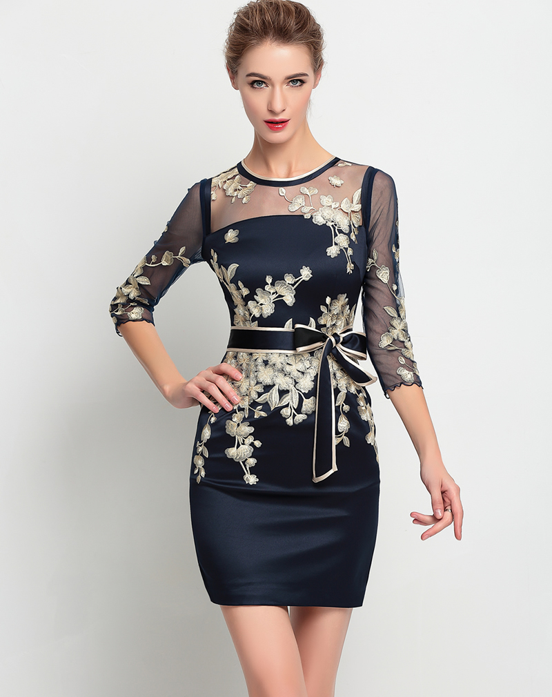 Fashion Mesh Patchwork font b Women b font Gold Embroidery Dress Elegant Sexy Casual Dresses With