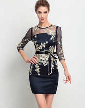 Fashion Mesh Patchwork Women Gold Embroidery Dress Elegant Sexy Casual Dresses With Belt
