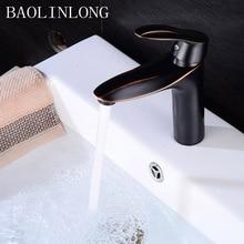 Drawing Black Brass Basin Bathroom Faucets Vanity Vessel Sinks Mixer Single Bath Faucet Tap
