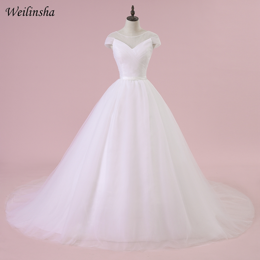 A Line Wedding Dresses With Cap Sleeves: Aliexpress.com : Buy Weilinsha Tulle A Line Wedding