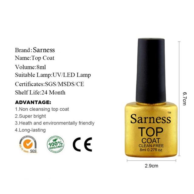 Sarness Base Gel Top Coat Nail Polish Set Varnish Soak Off 8ml Led Uv Finish Cover Clear Color Art