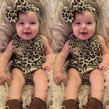 0-24M Newborn Infant Baby Girls Clothes Toddler Kids Summer Sleeveless Leopard Bodysuit and Headwear 2pcs Baby Body Clothing