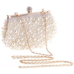 Image 1 - Abend Hochzeit Kupplung Handtasche Perle Tasche Kleid Abendessen Tasche Kleine Geldbörse Brautjungfer Handtasche Weiß