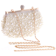 Evening Wedding Clutch Handbag Pearl Bag Dress Dinner Bag Small Purse Bridesmaid Handbag White