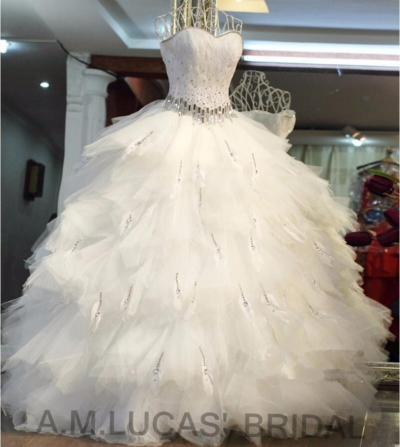 Wedding Gown With Feathers: Luxury Ball Gown Wedding Dresses Tiered Ruffles Feathers