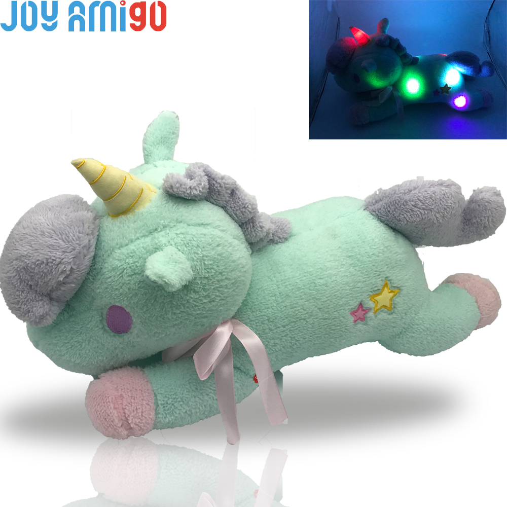 Ny Luminous Fylld Unicorn Toy LED Light Up Plush Doll Glödkudde Automatisk Färg Rotation Gift 55cm / 21,6 tums Födelsedag Gfit