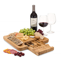 Original Personalized Bamboo Cheese/Charcuterie Board with Cheese Knife Set & Cheese Markers Designed & Quality Checked