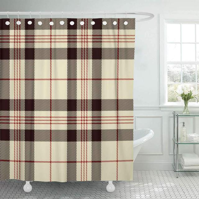 Shower Curtain With Hooks Check Tartan Black Red And Beige Plaid Flannel Patterns Trendy Tiles For Cross Bathroom Curtains