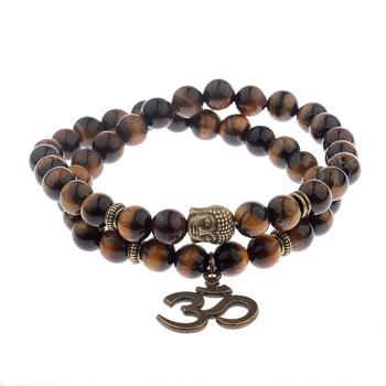 Bracelet Bouddhiste Mala Bouddha En Oeil De Tigre