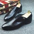 Только настоящая любовь Новая Мода Мужчин Geninue Кожа Скольжения На Стразами Дышащий Квартиры для Мужчин Острым Носом Oxfords Размер Обуви: 38-43