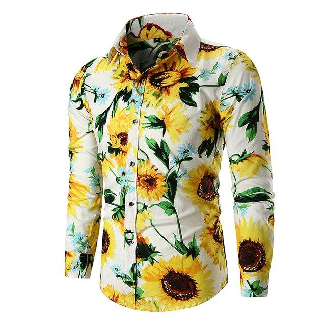 60d008fc6 Girassol Imprimir Slim Fit Camisa dos homens de Manga Longa Outono Camisa  Casual Camisas Dos Homens