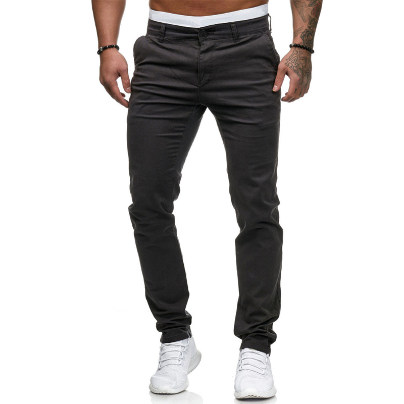 adc8bc5841 New Design Casual Men Pants Cotton Slim Pant Straight Trousers Fashion  Business Solid Dark Gray ...