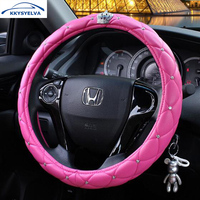 KKYSYELVA 38 CM Vrouwen auto stuurhoes Diamond PU leather Black Auto stuurwiel Covers Interieur Accessoires