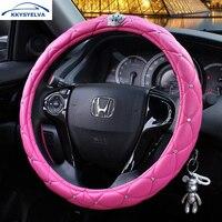 KKYSYELVA 38CM Crown Coverd Women Car Steering Wheel Cover Luxurious Diamond PU Leather Steering Wheel Covers