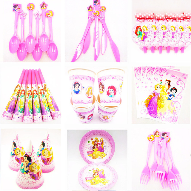 Three Priness Kids Birthday Queen Movie Baby Party Decorations Caps Napkins Girl Supplies Decoration